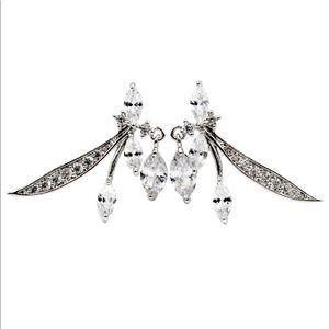 Lovely silver little crystal dragonfly earrings